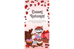 Bakery dessert vector banner for restaurant