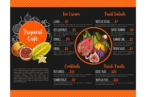 Vector menu for tropical exotic fruit cafe