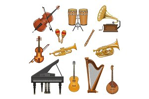 Vector icons set of musical instruments
