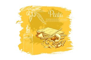 Italian pasta vector poster for restaurant