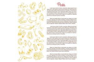 Italian pasta vector poster template