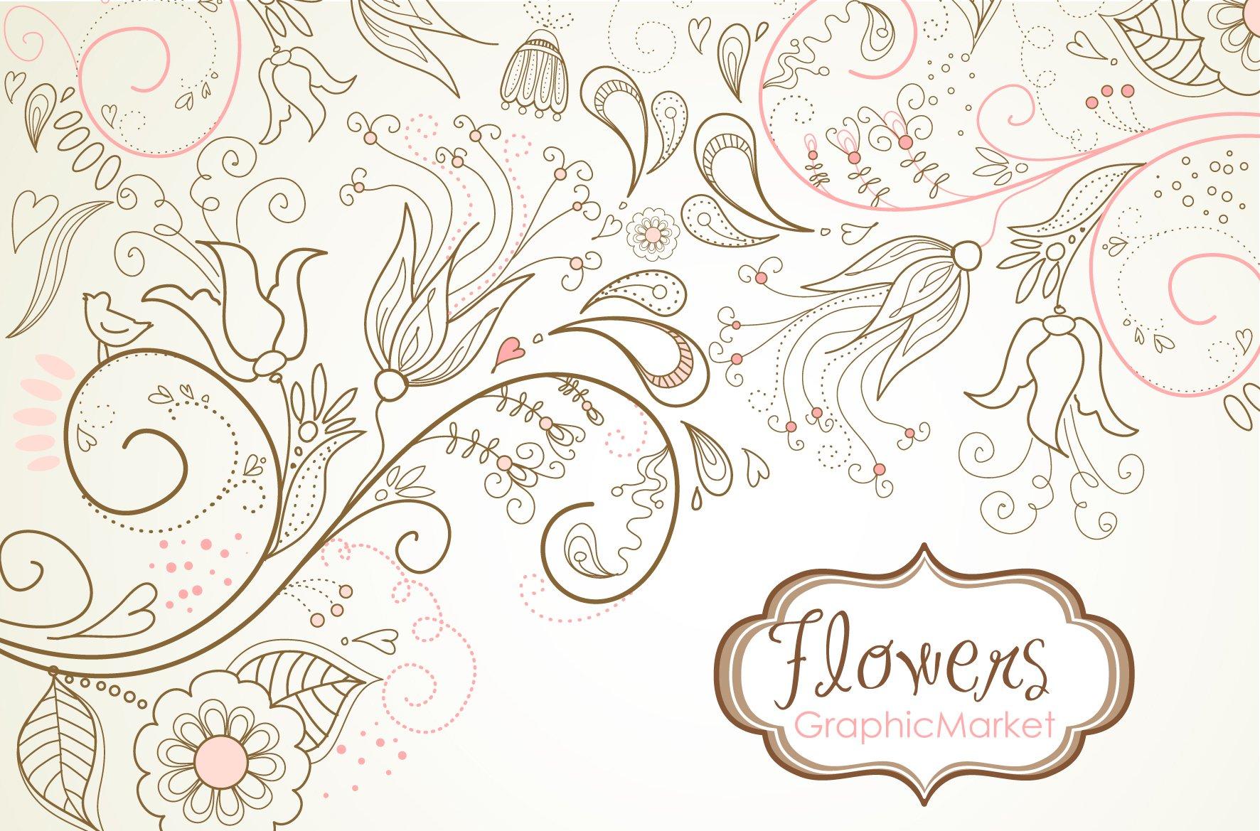 Flowers Digital Paper Floral Border Illustrations Creative Market