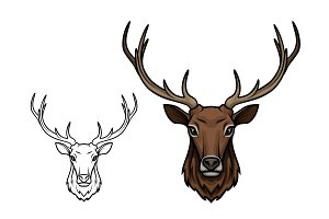Deer antlers muzzle vector isolated sketch icon