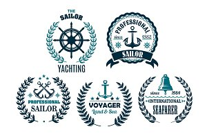 Vector set of nautical heraldic icons for yachting