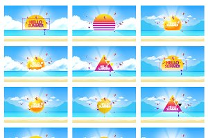 Set of Vector Abstract Summer Design