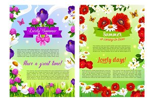 Vector summer holiday posters of flowers bouquets