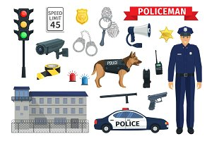 Vector icons of policeman occupation and police