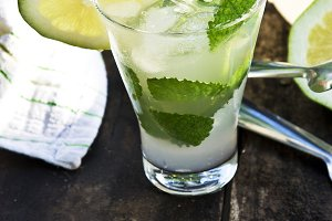 Glass of mojito with lime