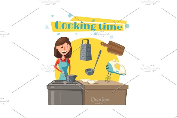 Housewife Vector Woman At Kitchen Cooking Stove