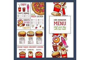 Vector fast food restaurant menu template