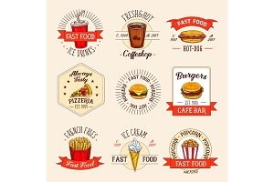 Vector fast food restaurant menu icons