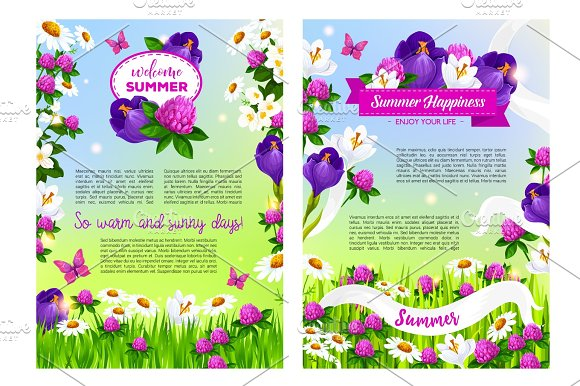 Flowers Bouquets For Welcome Summer Time Posters