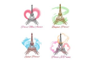 Eiffel tower signs on white background