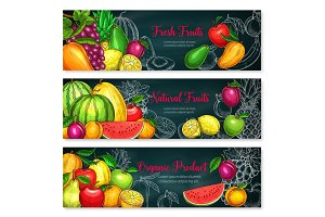 Vector banners of exotic fresh fruits