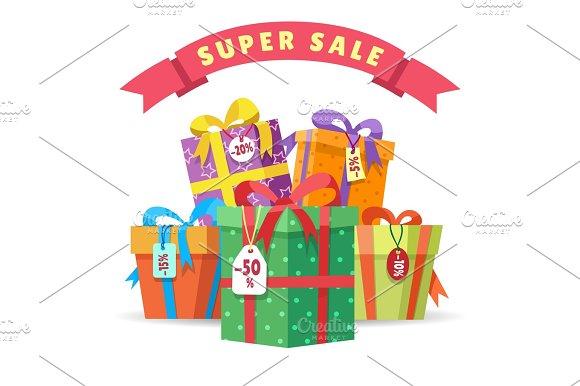 Sale Present Boxes Big Pile