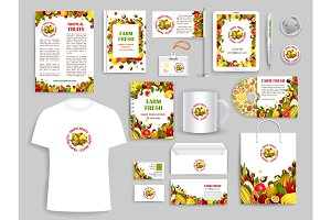 Corporate identity vector items for fruit company