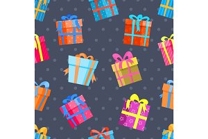 Gifts or present boxes seamless pattern