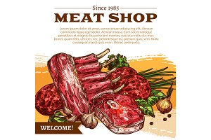 Vector poster for butchery shop meat products