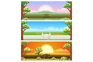 Backyard cartoon background set