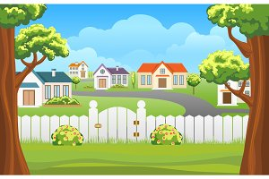 Outdoor backyard background cartoon illustration