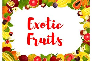 Vector exotic tropical fruits poster for market