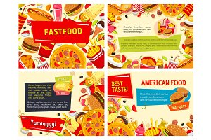 Vector fast food posters set for restaurant