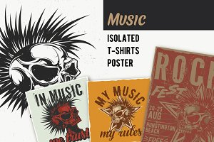 Music T-shirts And Poster Labels