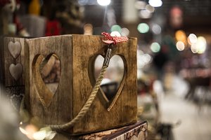 wooden box with heart