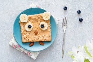 Kids breakfast, funny owl toast