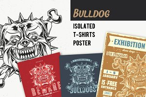 Bulldog T-shirts And Poster Labels