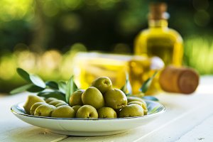 Olive dish and olive oil bottles
