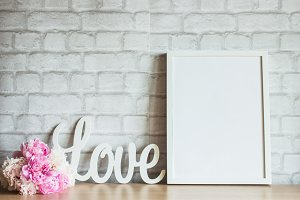 White Frame Mockup Love and Peonies