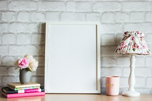White Frame Mockup with Lamp