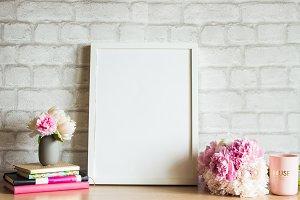 White Frame Mockup Feminine Scene