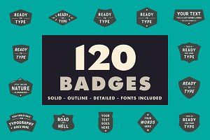 120 vector badges with fonts!