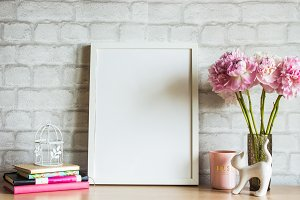 White Frame Mockup Styled Scene