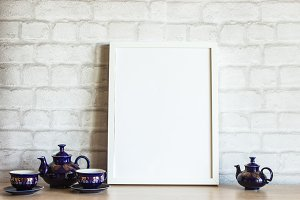 White Frame Mockup with Teapots