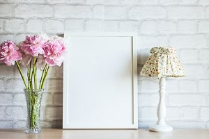 White Frame Mockup with Peonies