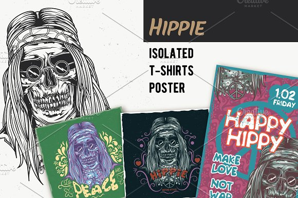 Hippie T-shirts And Poster Labels