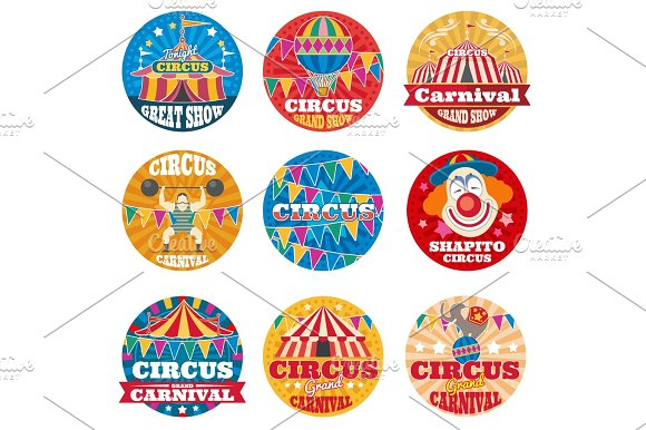 Circus Vintage Vector Labels And Emblems