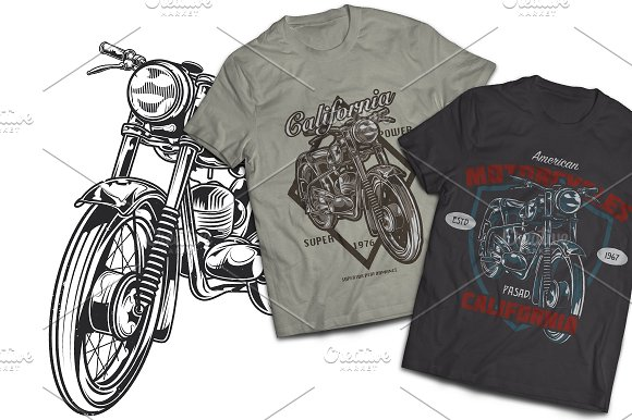 Retro Moto T-shirt And Poster Labels