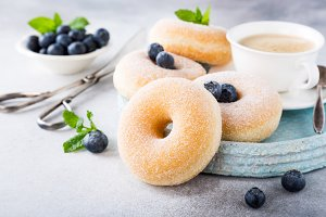Homemade donuts with sugar