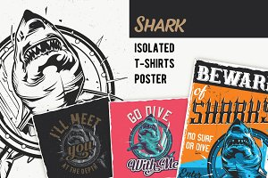 Shark T-shirts And Poster Labels