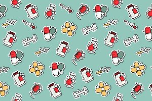 Pharmacy concept icons pattern