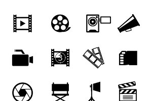Simple Black and White Video Icons