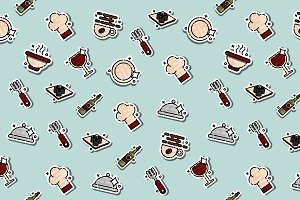 Restaurant concept icons pattern