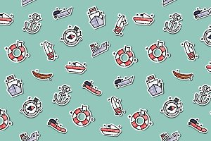 Sea transport concept icons pattern