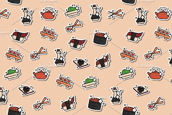 Colored Sushi Concept Icons Pattern