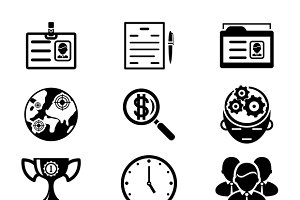 Black Silhouette Business Icons