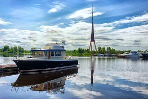 The yacht is berthed in Riga